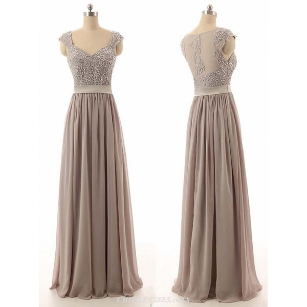 V-Neck A-line Cap Sleeves Floor Length Chiffon Bridesmaid Dress With Beading 2016 New Arrival